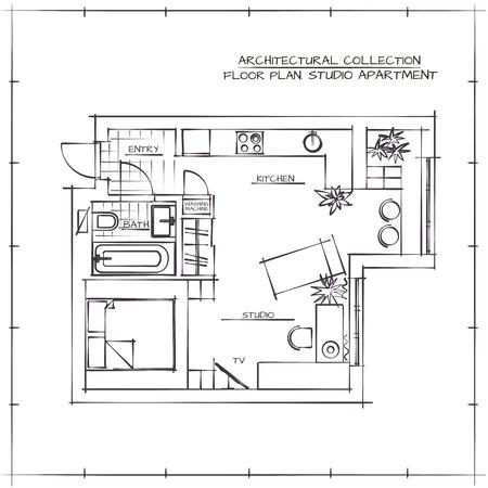 one bedroom: Architectural Hand Drawn Floor Plan. Studio Apartment Illustration
