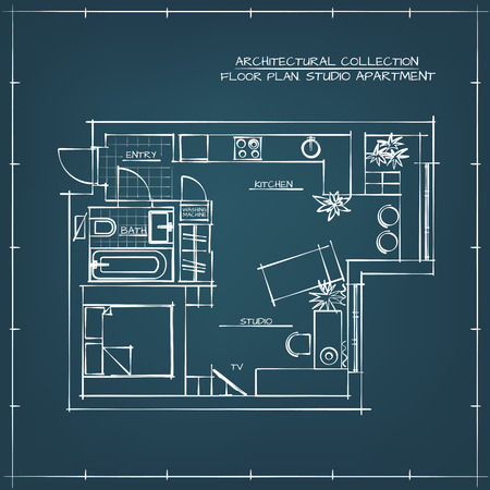 floorplan: Architectural Hand Drawn Floor Plan. Blueprint. Studio Apartment