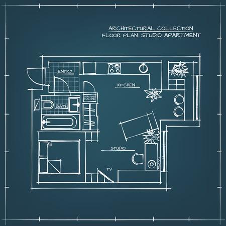 one bedroom: Architectural Hand Drawn Floor Plan. Blueprint. Studio Apartment