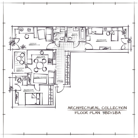 floorplan: Architectural Hand Drawn Floor Plan.Three Bedrooms Apartment