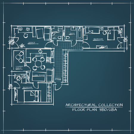 floorplan: Architectural Blueprint Floor Plan.Three Bedrooms Apartment Illustration