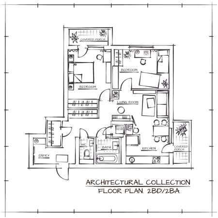 Architectural Hand Drawn Floor Plan.Two Bedrooms Apartment