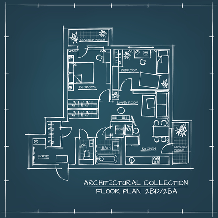 Architectural Blueprint Floor Plan.Two Bedrooms Apartment