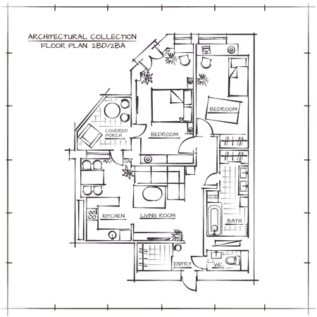 Architectural Hand Getrokken Floor Plan.Two slaapkamers appartement Stock Illustratie