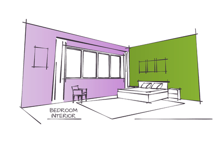 inside house: Color Sketch Drawing of Contemporary Bedroom Interior