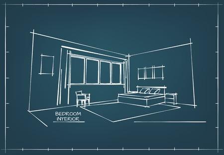 Blueprint Sketch Drawing of Contemporary Bedroom Interior