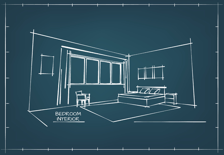 Blueprint Sketch Drawing of Contemporary Bedroom Interior