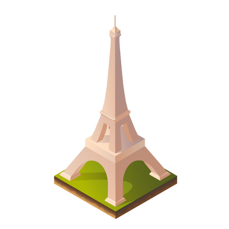 monuments: Color Bright Isometric Illustration of Eiffel Towerfor Print, Intefaces, Infographic and Web Illustration