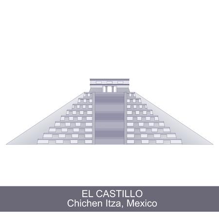 kukulkan: Color Illustration of El Castillo, Kukulkan Pyramid in Chichen Itza, Mexico