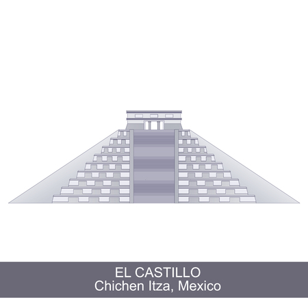 fasade: Color Illustration of El Castillo, Kukulkan Pyramid in Chichen Itza, Mexico