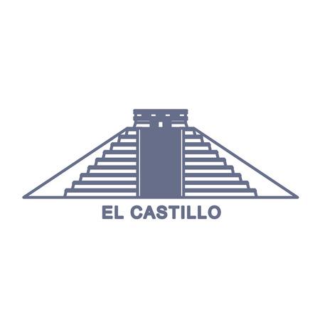 itza: Simple Illustration of El Castillo, Kukulkan Pyramid in Chichen Itza, Mexico