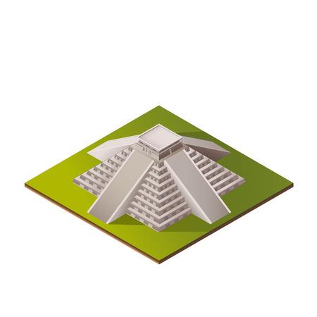 chichen itza: Color Isometric Iluustration of El Castillo - Kukulkan Pyramid in Chichen Itza, Mexico Illustration