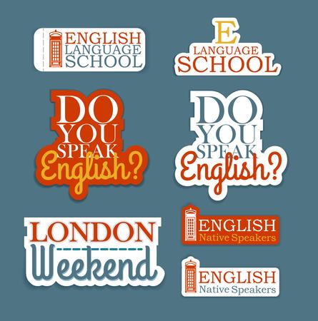 language school: Set of Logos. English Language School Theme