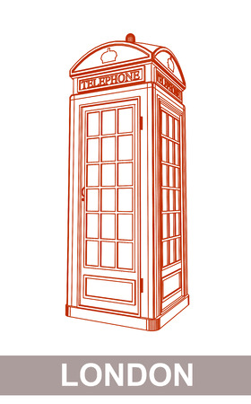 telephone booth: Detail Drawing of Classic London Red Telephone Booth Illustration