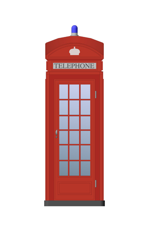 telephone booth: Detailed Color Illustration. Traditional Red Telephone Booth Illustration