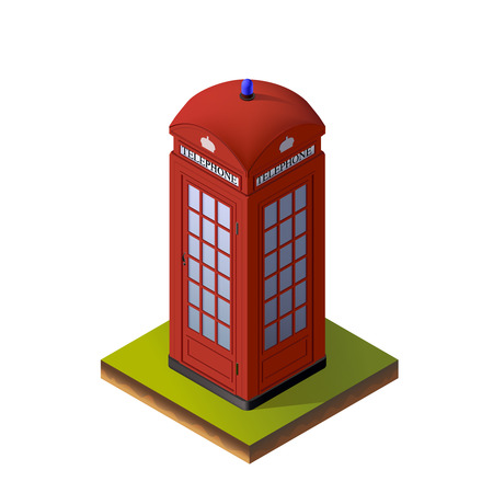 telephone booth: Color Isometric Illustration of Red London Telephone Booth. For Print, Web and Graphic Interfaces