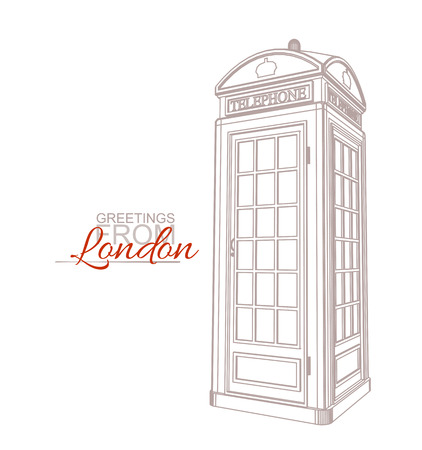 phonebooth: London Greeting Card Template. Traditional Telephone Booth