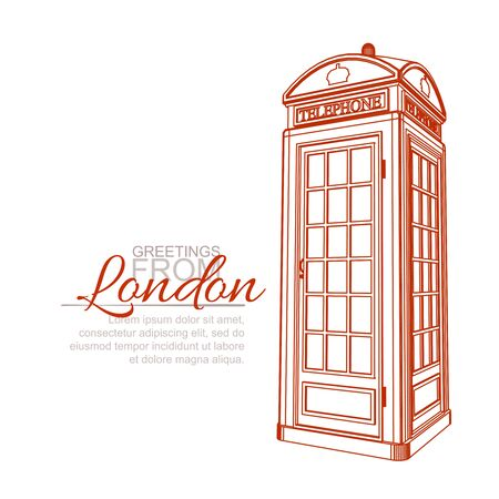 cabina telefonica: Plantilla de la tarjeta de felicitación de Londres. Cabina de teléfono tradicional Vectores