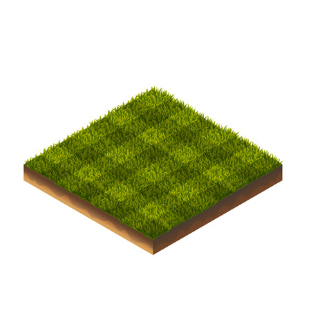 Isometric Vector Illustration Of Soccer Field Green Grass For Web, Print, Mobile and GUI