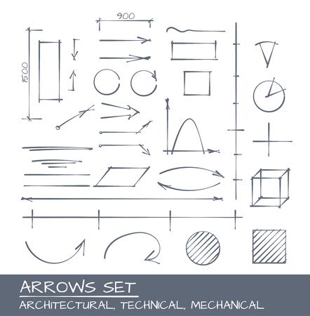 Flechas de conjunto, de dibujo vectorial para ingenieros mecánicos, la arquitectura y técnicas illustrarions Ilustración de vector
