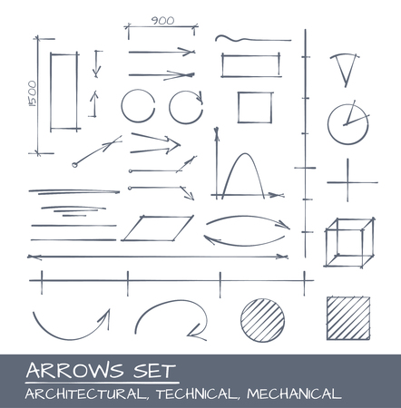 Arrows set, vector drawing for mechanical, architecture and technical illustrarions