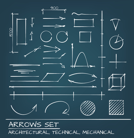 engeneering: Architectural, Techical and Engeneering Arrows. Hand Drawn Set