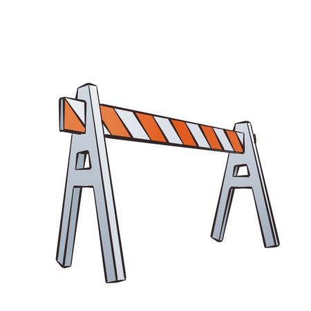 sawhorse: Vector Color Cartoon Illustration Of Road Barrier For Traffic and Transportation Concepts, Prints Or Under Construction Web Page