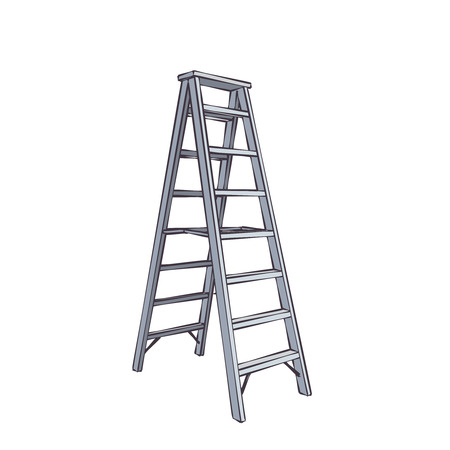 ladder: Color Cartoon Double Ladder From Steel.  Illustration Isolated On White Illustration
