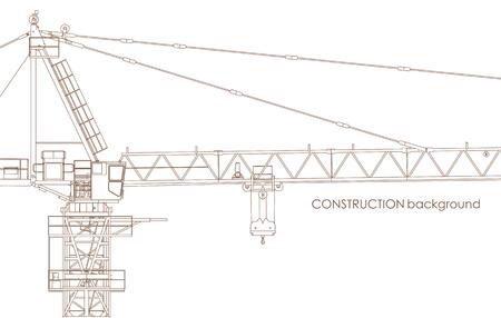 Vector Industrial Contrustion Grue à tour Contexte Le Blanc Vecteurs