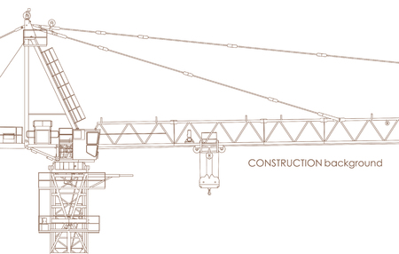 tower crane: Vector Industrial Contrustion Tower Crane Background On White