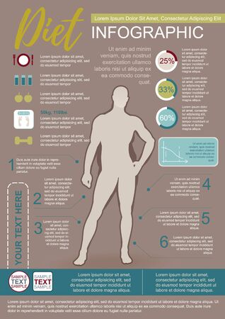 fatness: Color Vector Infographic Template About Man Diet Illustration