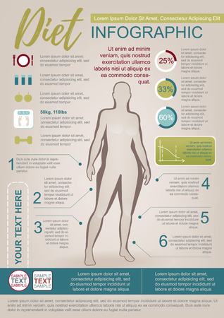 weight loss: Color Vector Infographic Template About Woman Diet