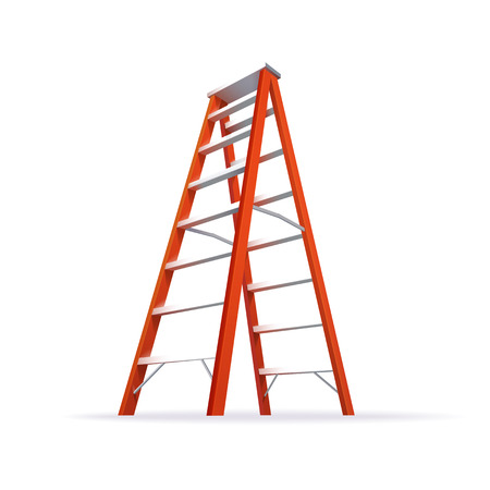 Color Realistic Red Double Ladder Illustration Isolated On White Vettoriali
