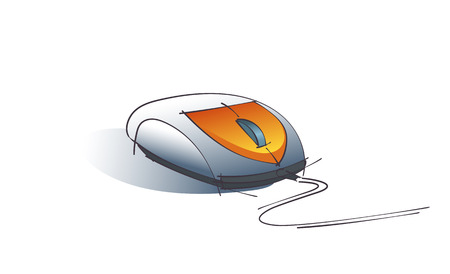 dibujo tecnico: Color Vector Technical Drawing Of Computer Mouse Design Concept Isolated On White