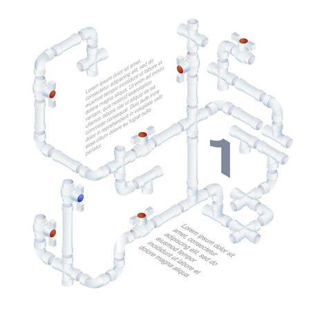 Vector Editable Engineering Background. Plumbing System Illustration