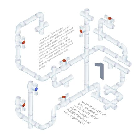 Vector Editable Engineering Background. Plumbing System Illustration