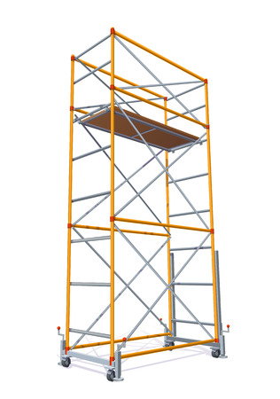 Vector Color Realistic Illustration Of Scaffolding Isolated On White