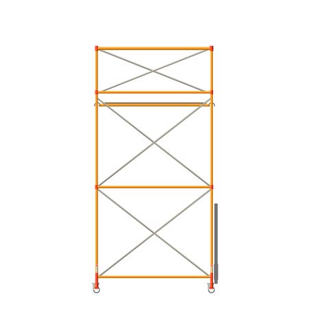 Vector Color Realistic Illustration Of Scaffolding Isolated On White. Front View Ilustração Vetorial