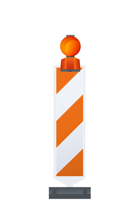 bollard: Vector Illustration Of Warning Road Beacon On Striped Bollard Illustration