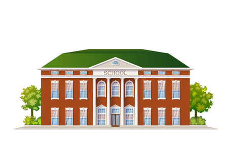 Vector Color Classic School Building Illustration Isolated On White Stock Illustratie