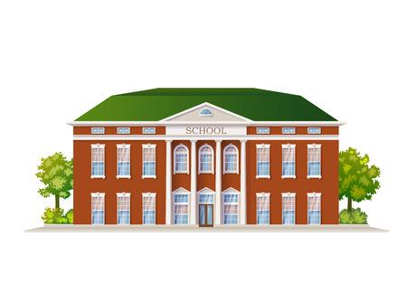 Vector Color Classic School Building afbeelding geïsoleerd op wit