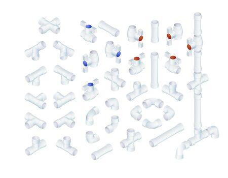 El vector profesional Conjunto De Elementos plomería del PVC. Colección vistas isométricas completa Foto de archivo - 58417989