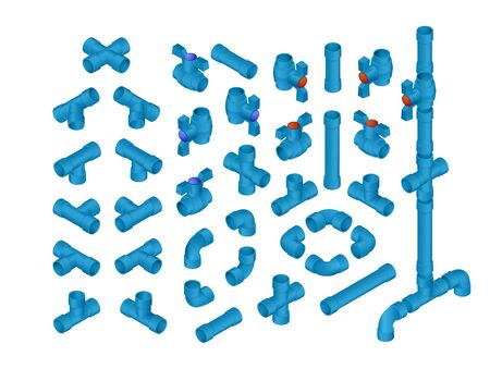 sewer pipe: Vector Professional Set Of PVC Plumbing Elements For Cold Water. Full Isometric Views Collection