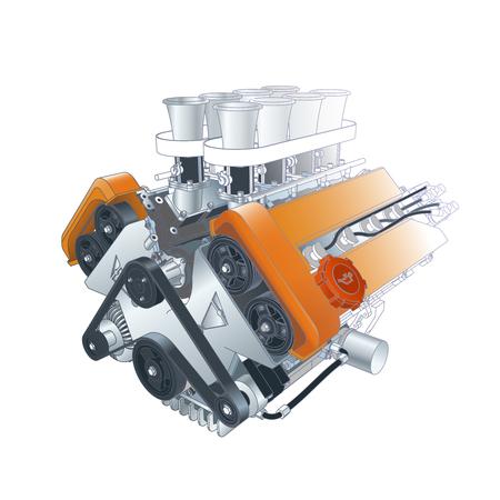 v8: Color Vector Technical Illustration Of V8 Car Motor