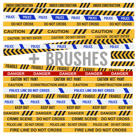 danger do not cross: Set of Various Warning Tapes Plus Warning Tapes Brushes Collection