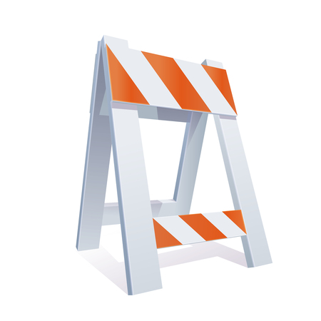 highway signs: Vector ColorRealistic Illustration Of Road Barrier For Traffic and Transportation Concepts, Prints Or Under Construction Web Page