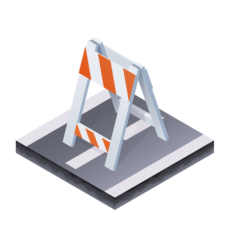 sawhorse: Vector Color Isometric Illustration Of Traffic Barrier Illustration