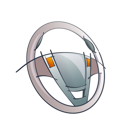 airbag: Vector Color Technical Drawing Of Steering Wheel Concept