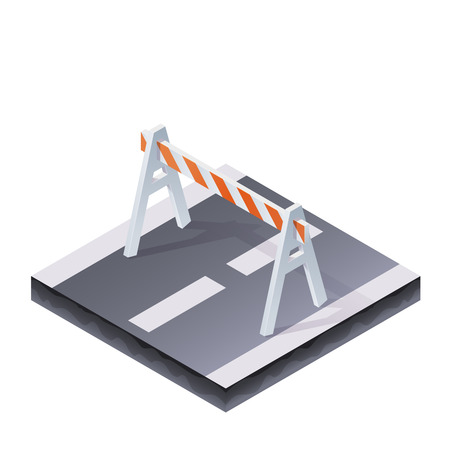sawhorse: Color Isometric Traffic Barrier On The Road Illustration