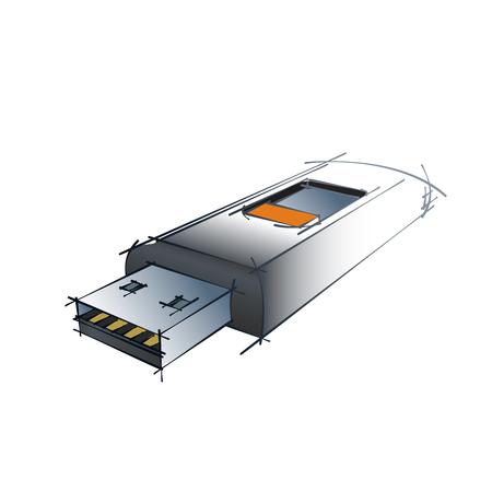 dibujo tecnico: Color Vector Technical Drawing Of USB Flash Drive Design